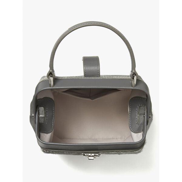 remedy haircalf small top-handle bag, SILVER, hi-res