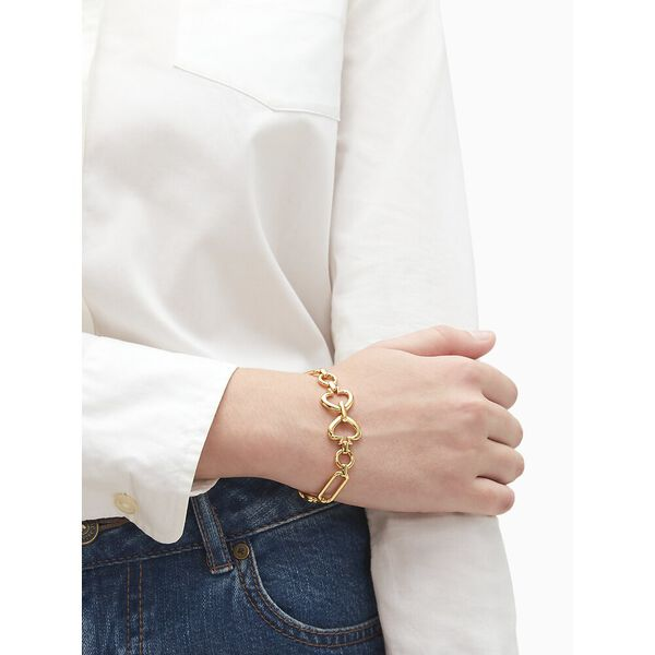 spade link bracelet, gold, hi-res