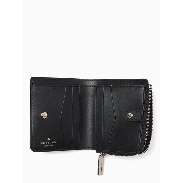 staci small l-zip bifold wallet, BLACK, hi-res