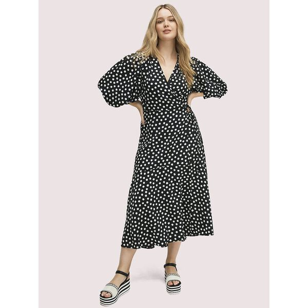 cloud dot wrap dress, black, hi-res