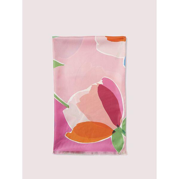watercolor garden oblong scarf, TRUE PINK, hi-res
