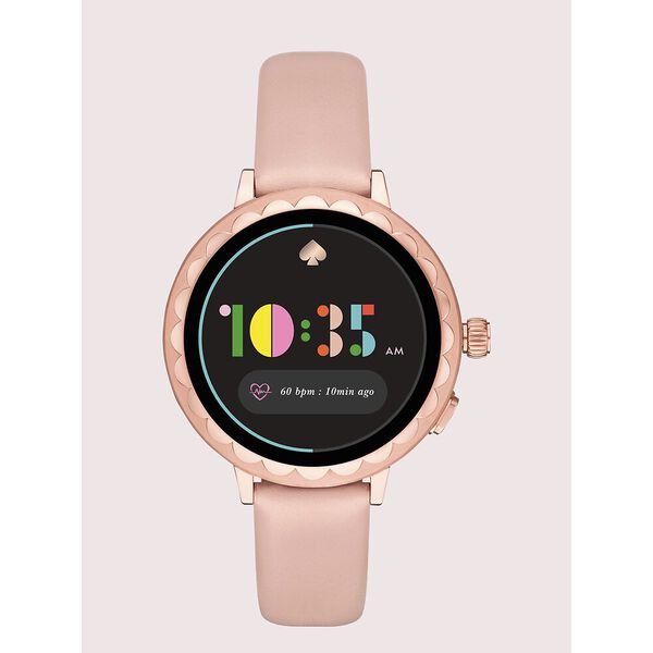 kate spade new york scallop blush leather smartwatch 2 featuring contactless payment
