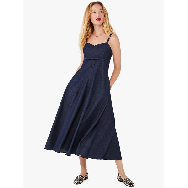 denim bow-waist dress