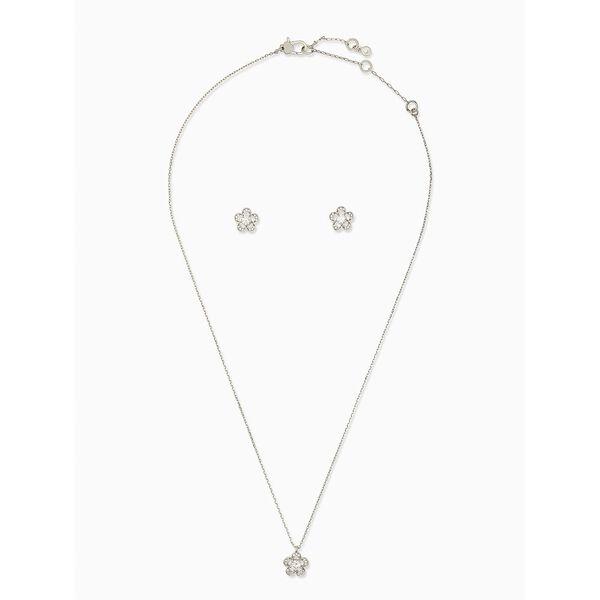 jeweled stencil scallops studs and mini pendant, clear/silver, hi-res