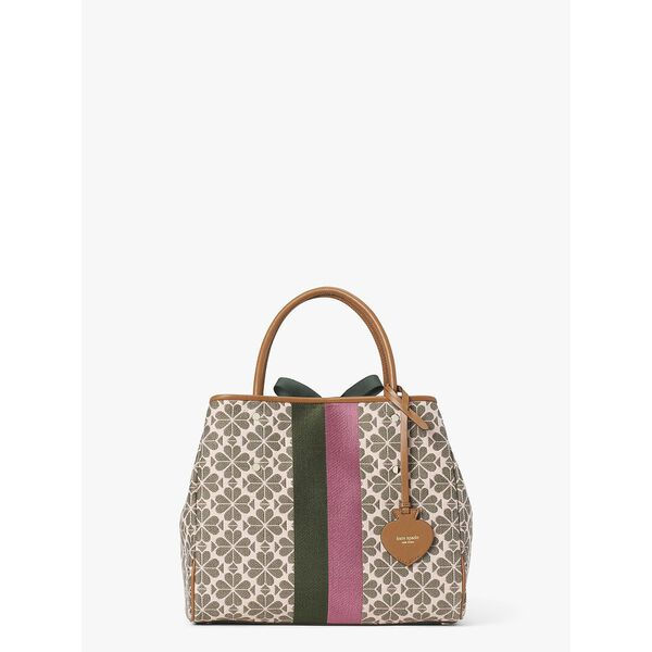 everything logo jacquard stripe medium tote, PINK MULTI, hi-res