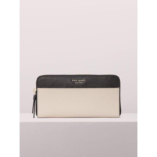 cameron large continental wallet, warm beige/black, hi-res