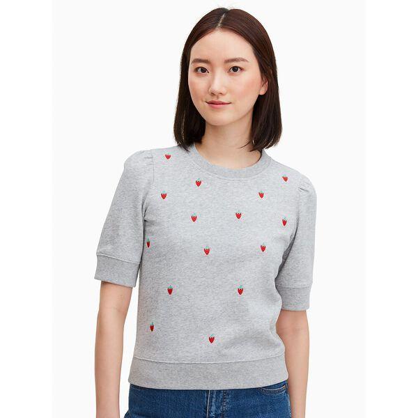 strawberry-embroidered pullover, grey melange, hi-res