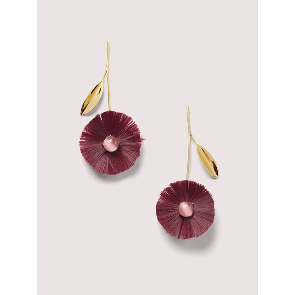 posh poppy statement earrings, BURGUNDY, hi-res