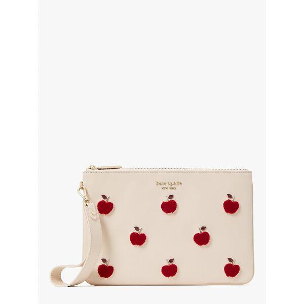 apple toss flocked pouch wristlet