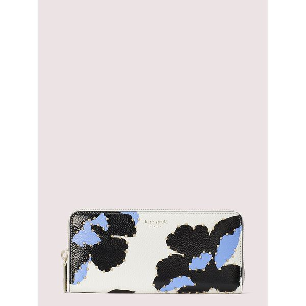 margaux city bloom slim continental wallet, optic white multi, hi-res