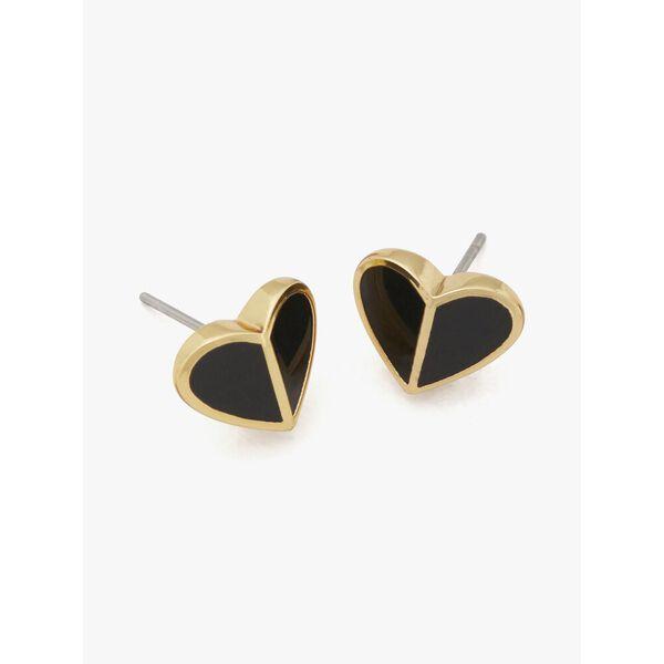 heritage spade small heart studs, black, hi-res