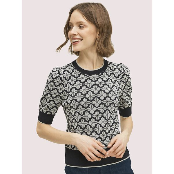 spade flower puff sleeve sweater