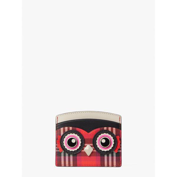 blinx plaid owl cardholder