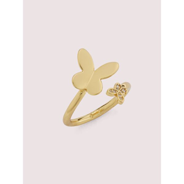in a flutter wrap ring, clear/gold, hi-res