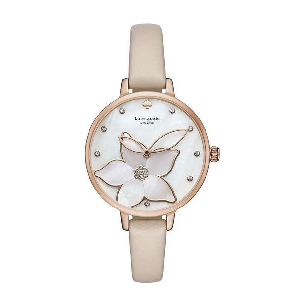 metro flower vachetta leather watch, beige, hi-res