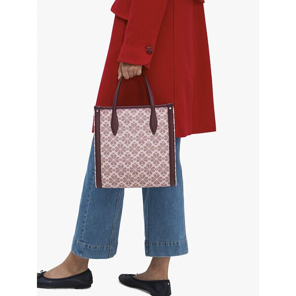 spade flower coated canvas medium north south tote, PINK MULTI, hi-res