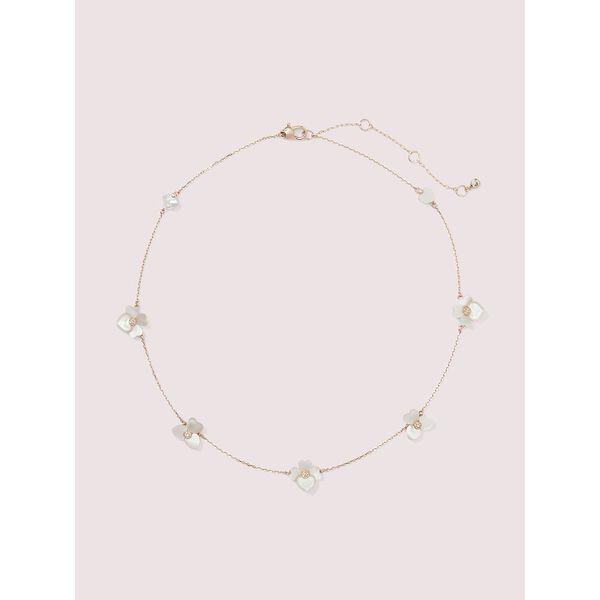 precious pansy necklace, cream multi/rose gold, hi-res