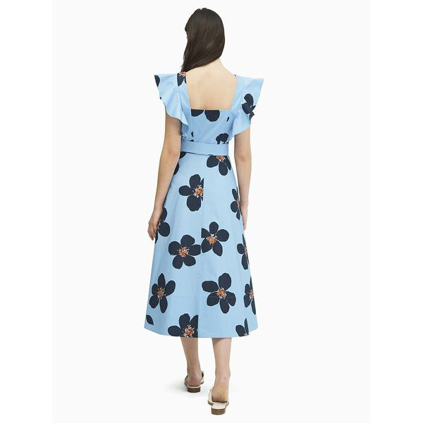 mainline grand flora poplin midi dress, BLUE HERON, hi-res