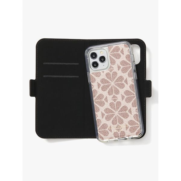 spade flower coated canvas iphone 12/12 pro magnetic wrap folio case, pink multi, hi-res