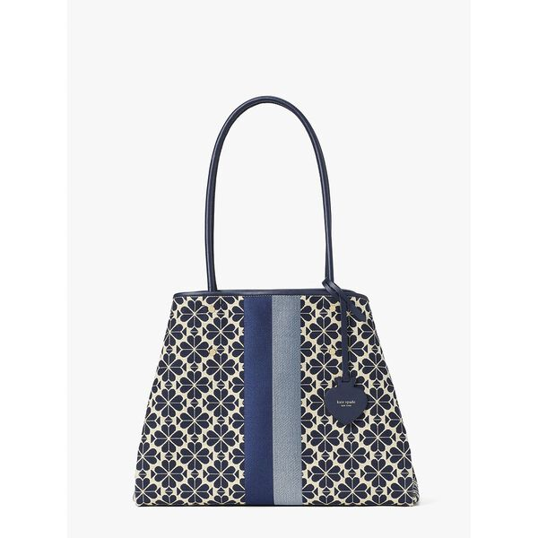 spade flower jacquard stripe everything large tote
