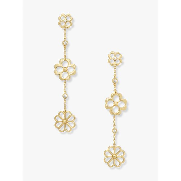 spade floral linear earrings, clear/gold, hi-res