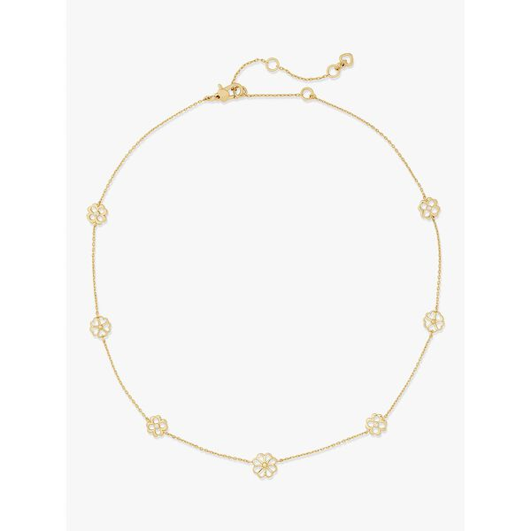 spade floral long scatter necklace