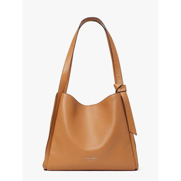 knott pebbled leather & suede large shoulder bag