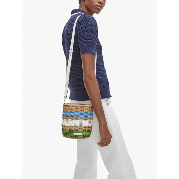 buoy wicker medium bucket bag, green multi, hi-res