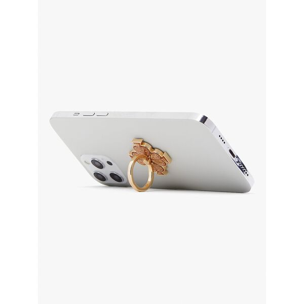 spade flower glitter ring stand, gold, hi-res