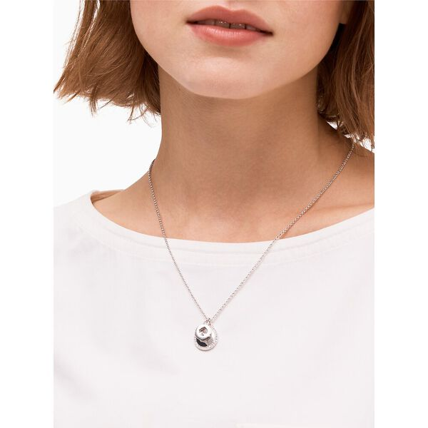 spot the spade pave charm pendant, clear/silver, hi-res