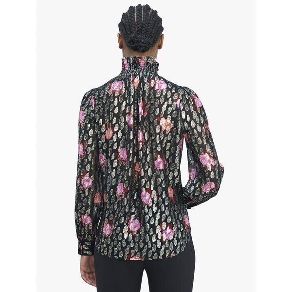 rose garden smocked neck top, BLACK, hi-res