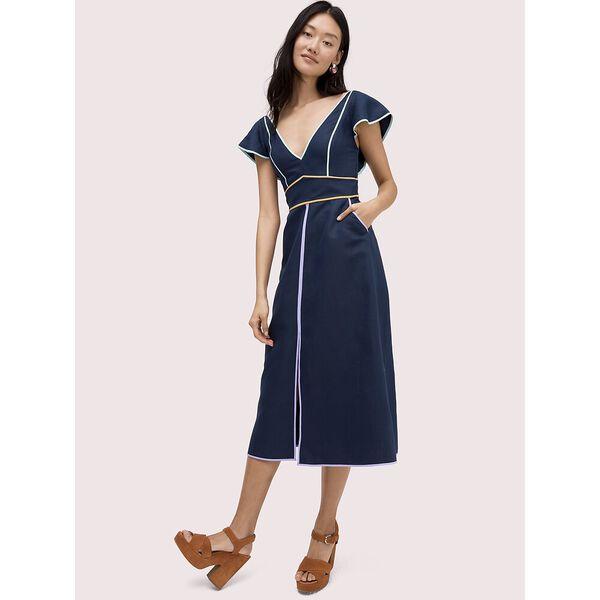 linen contrast trim dress, blue, hi-res