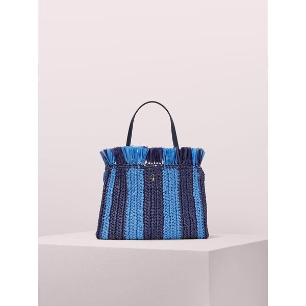 sam stripe straw medium satchel, blazer blue multi, hi-res