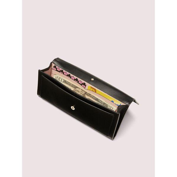 spencer slim flap wallet, black, hi-res