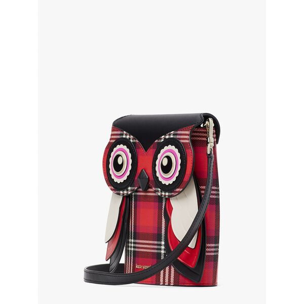 blinx plaid 3d owl crossbody, pink multi, hi-res