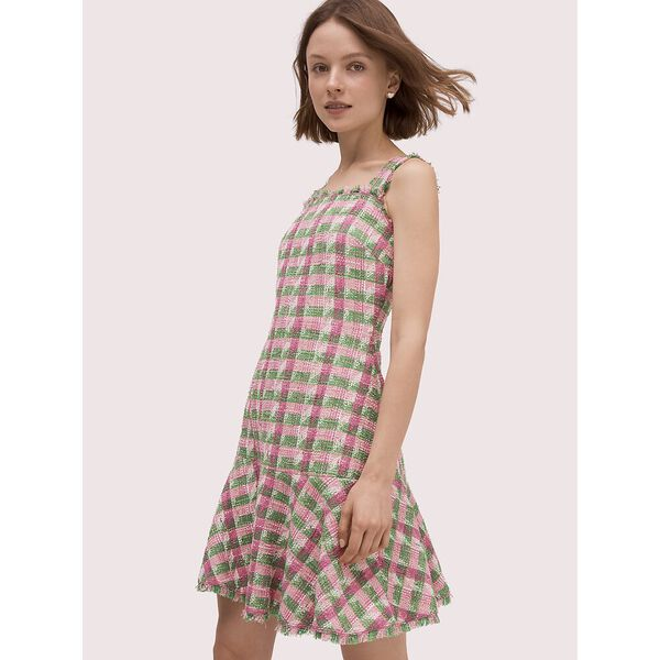 plaid tweed sleeveless dress