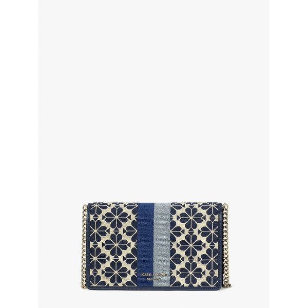 spade flower jacquard stripe chain wallet, blue multi, hi-res