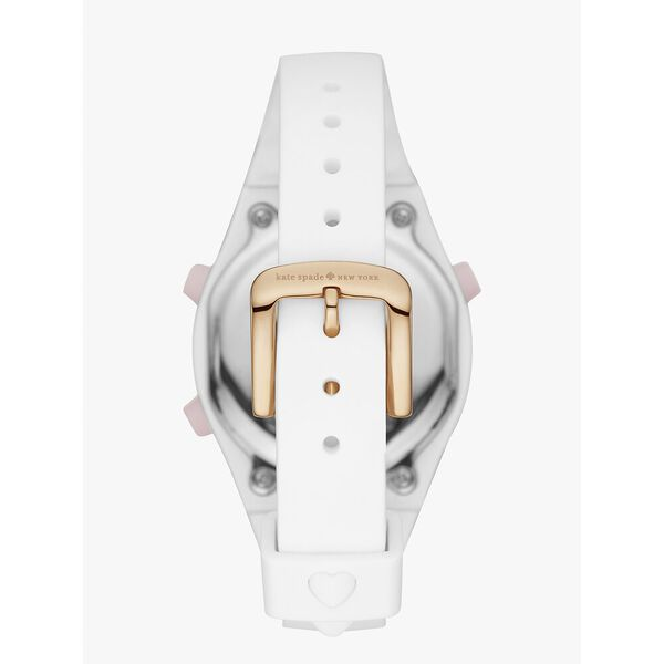 rumsey white silicone digital watch, white/rose, hi-res