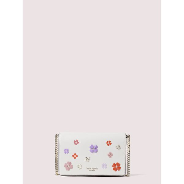 spencer spade clover butterfly chain wallet, parchment multi, hi-res