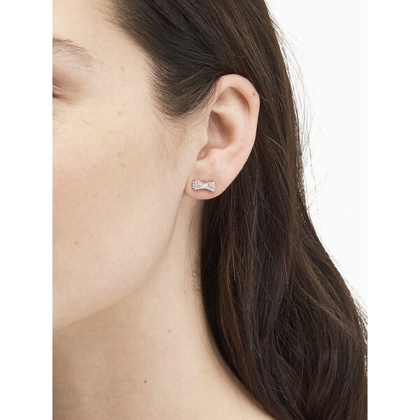 ready set bow pave bow studs, CLEAR/SILVER, hi-res