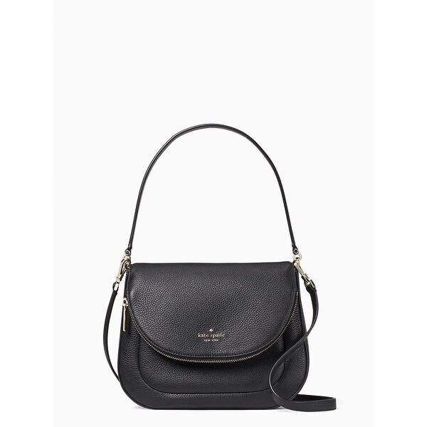 leila medium flap shoulder bag, black, hi-res