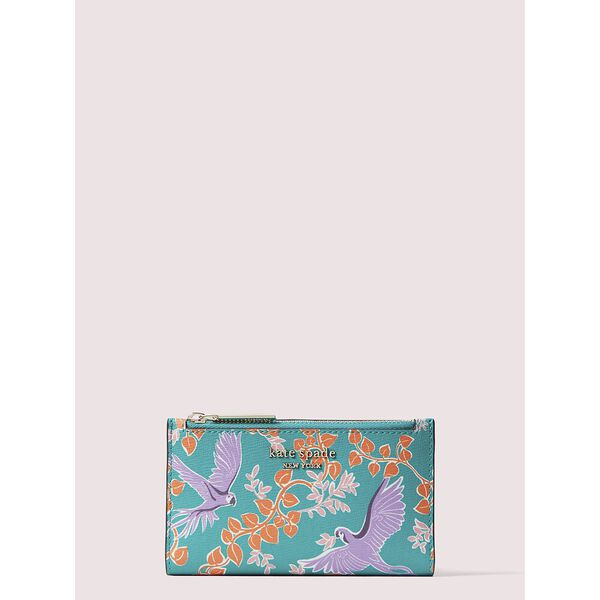spencer bird party small slim bifold wallet, fiji green multi, hi-res