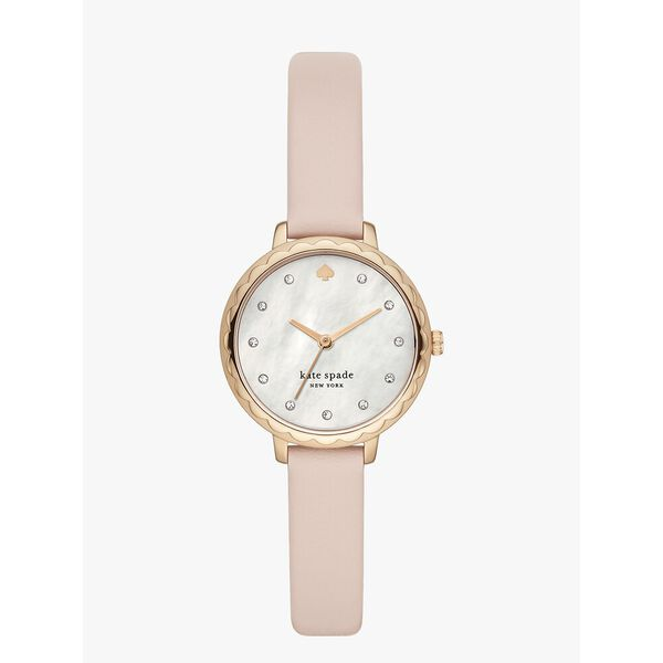 morningside three hand leather watch, pink/rose gold, hi-res