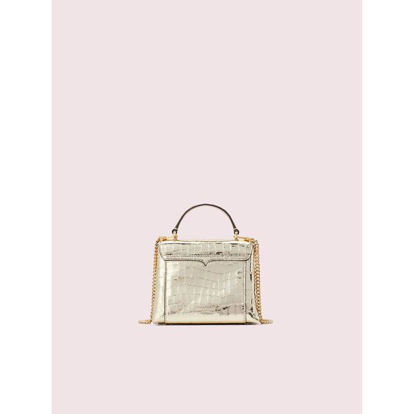 romy metallic croc-embossed mini top handle bag, gold, hi-res