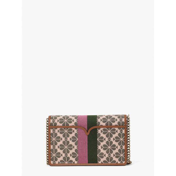 spade flower jacquard stripe chain wallet, pink multi, hi-res
