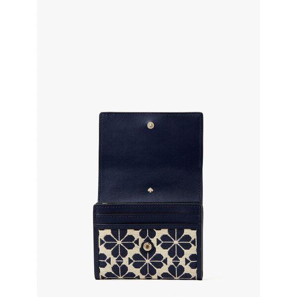 spade flower jacquard small zip wallet, blue multicolor, hi-res