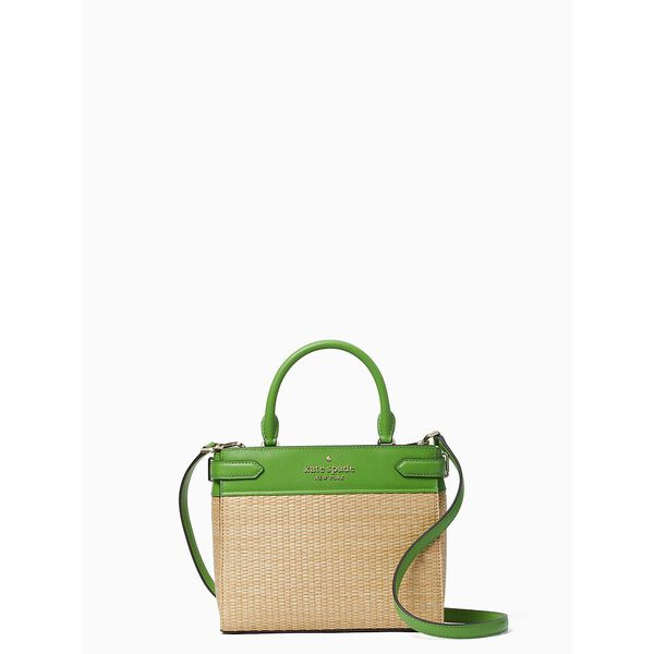 staci straw small satchel, turaco green, hi-res
