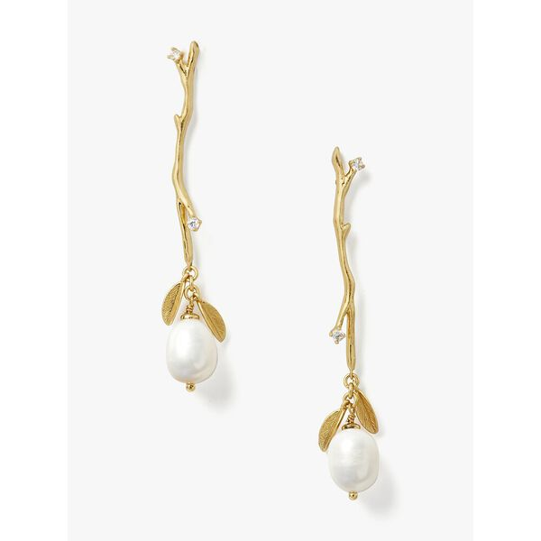 brilliant branches linear earrings, CREAM/GOLD, hi-res