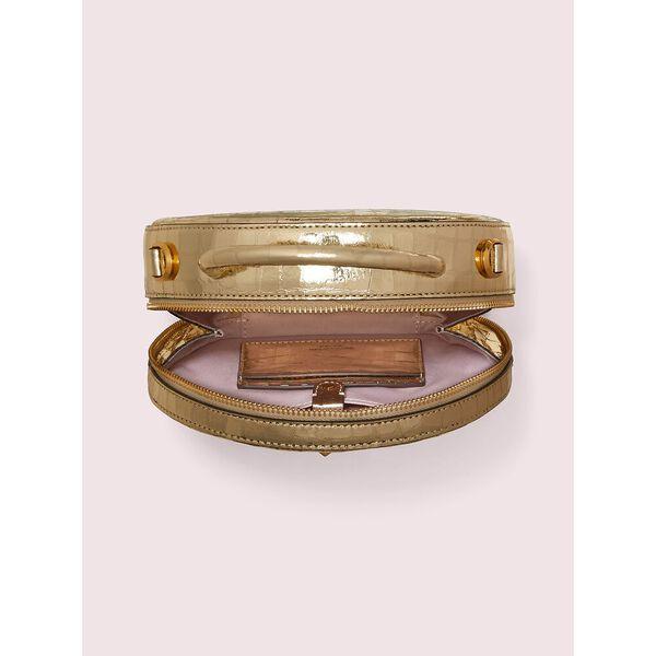 andi metallic croc-embossed canteen bag, gold, hi-res