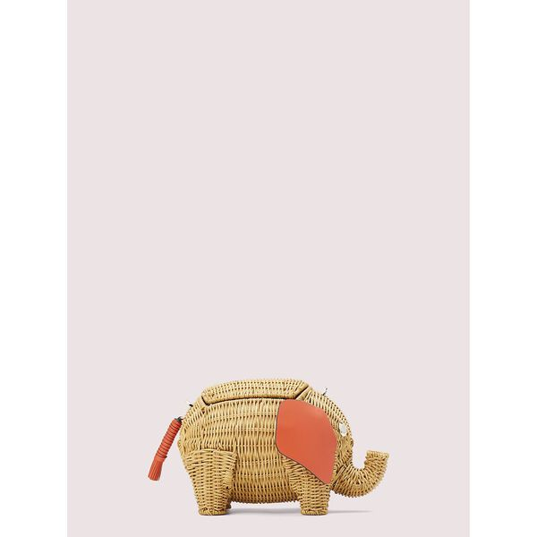 tiny wicker large elephant crossbody, tamarillo, hi-res